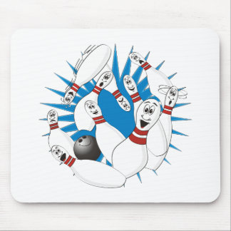 Bowling Pins Strike Cartoon no Hands Mouse Pad