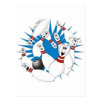 Bowling Pins Strike Cartoon no Hands Postcard