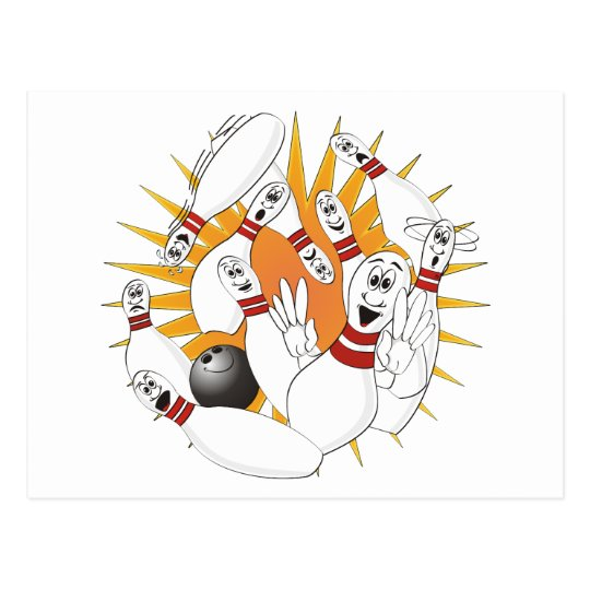 Bowling Pins Strike Cartoon Postcard