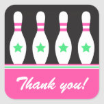 Bowling pins with stars girls Thank You stickers