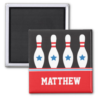 Bowling pins with stars name magnet