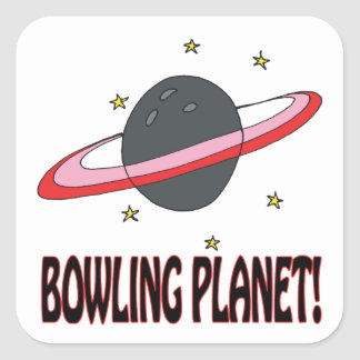 Bowling Planet Square Sticker