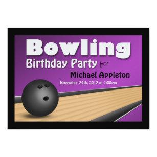 purple bowling ball invitations announcements zazzle