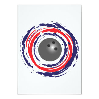 Bowling Red Blue And White Card