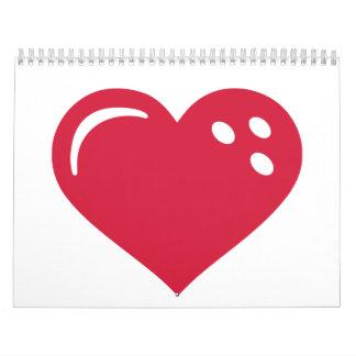 Bowling red heart wall calendars