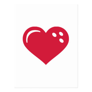 Bowling red heart postcard