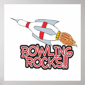 bowling rocks pin rocket poster