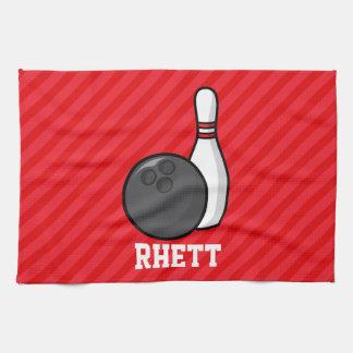 Bowling; Scarlet Red Stripes Towel