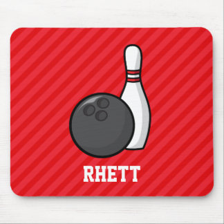 Bowling; Scarlet Red Stripes Mouse Pad