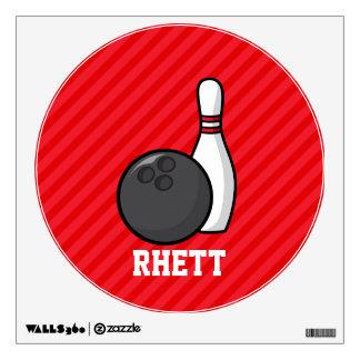 Bowling; Scarlet Red Stripes Wall Sticker