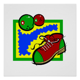 Bowling Shoe & Ball Poster