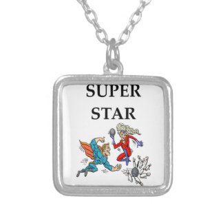 bowling silver plated necklace