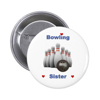 Bowling Sister Hearts Pinback Buttons