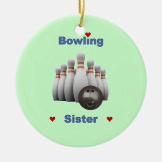Bowling Sister Hearts Ceramic Ornament