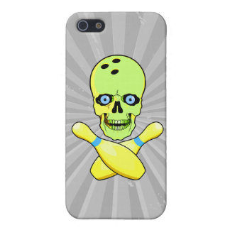 bowling skull and cross pin yellow green case for iPhone SE/5/5s