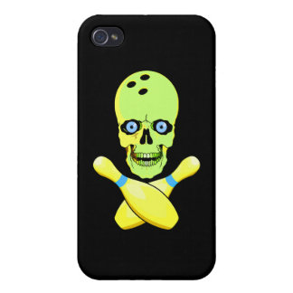 bowling skull and cross pin yellow green iPhone 4 case