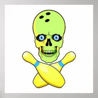 bowling skull and cross pin yellow green poster