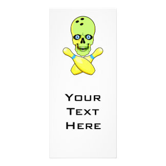 bowling skull and cross pin yellow green rack card