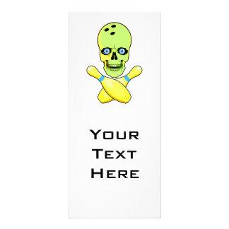 bowling skull and cross pin yellow green rack card