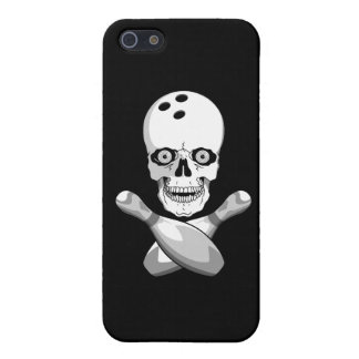 bowling skull and cross pins grayscale design cover for iPhone SE/5/5s