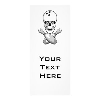 bowling skull and cross pins grayscale design rack card