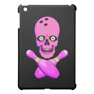 bowling skull and cross pins hot pink and green cover for the iPad mini