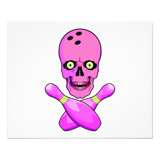 bowling skull and cross pins hot pink and green personalized flyer