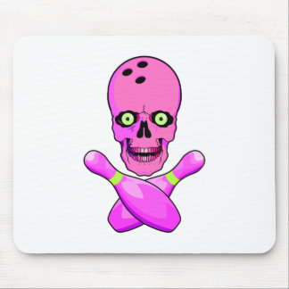 bowling skull and cross pins hot pink and green mouse pad