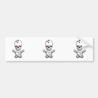 bowling skull and cross pins red eyes design car bumper sticker