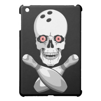 bowling skull and cross pins red eyes design iPad mini covers