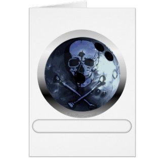 Bowling Skull and Crossbones Card