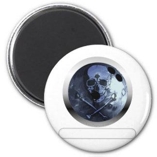 Bowling Skull and Crossbones Refrigerator Magnet