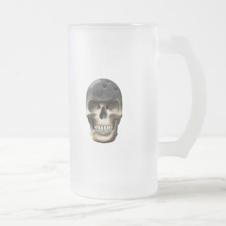 Bowling Skull Frosted Glass Beer Mug