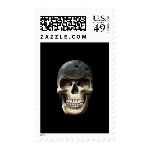 Bowling Skull Stamp