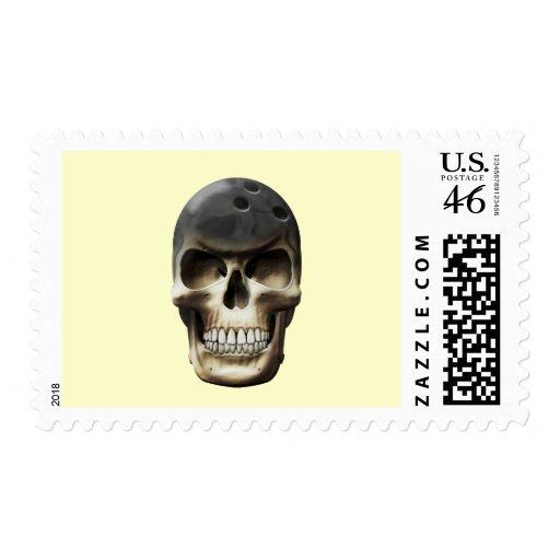 Bowling Skull Postage Stamp