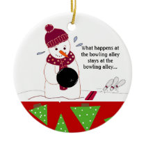 Bowling Snowman Ceramic Ornament