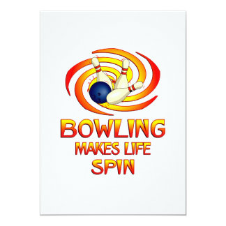 "Bowling Spins 5"" X 7"" Invitation Card"