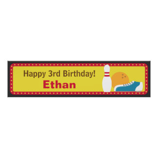 Bowling Sport Birthday Party Banner Print