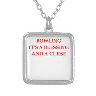 bowling square pendant necklace