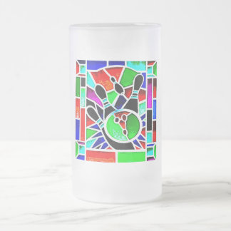 BOWLING STAINED GLASS 16 OZ FROSTED GLASS BEER MUG