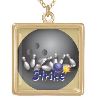 Bowling Strike Ball Gold Plated Necklace