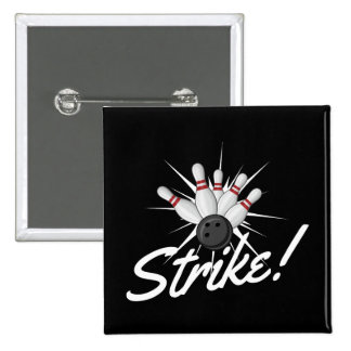 bowling strike! 2 inch square button