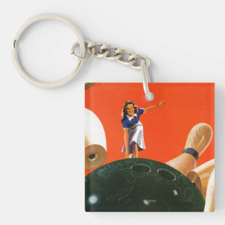 Bowling Strike Double-Sided Square Acrylic Keychain