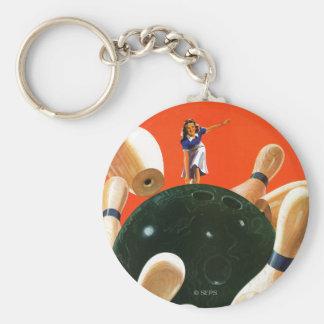 Bowling Strike Basic Round Button Keychain