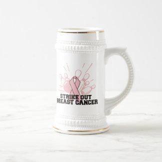 Bowling Strike Out Breast Cancer Beer Stein