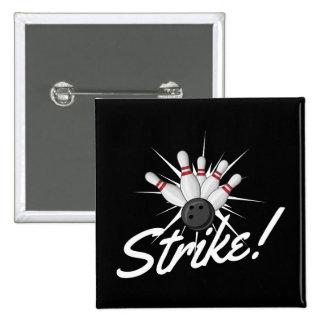 bowling strike! pinback button