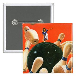 Bowling Strike Pinback Button