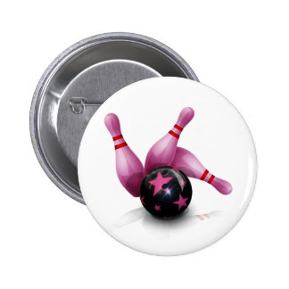 Bowling Team - Ball And Pins. 2 Inch Round Button