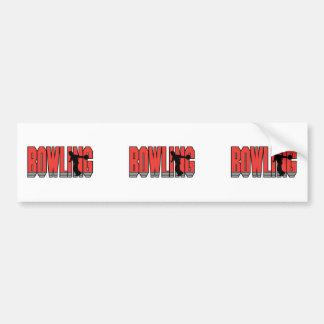 bowling text silhouette design car bumper sticker