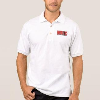 bowling text silhouette design polo shirt